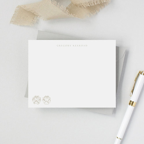 Dog Lover Flat Note Card Set- Paw Prints on my Heart