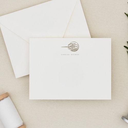 "Personalized Horseshoe Crab Stationery - ""Shoe Collection"" Flat Note Card Set"