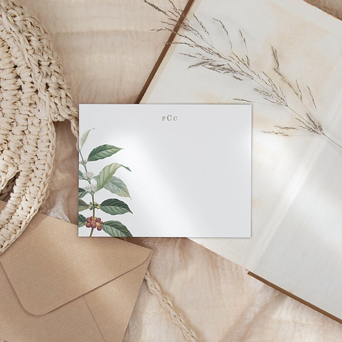 Wild Coffee Personalized Flat Note Card Set
