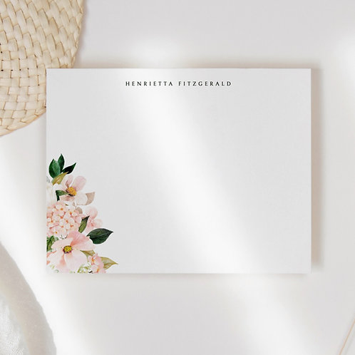 Blushing Hydrangea Flat Note Card Set