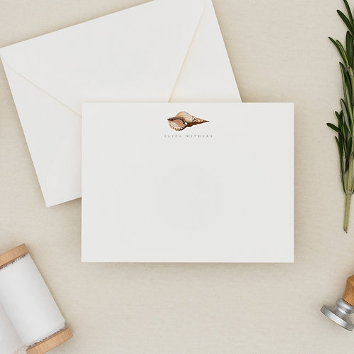 Personalized Seashell Flat Note Card Set - Concher the World