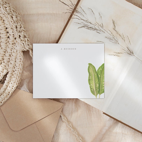 Path to Biesanz Flat Note Card Set - Personalized Tropical Stationery