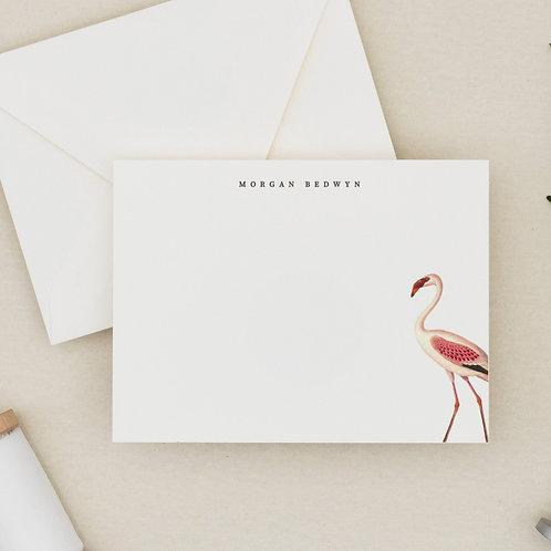 """Elegant Personalized Stationery - """"Let's Flamingle"""" Flamingo Flat Note Card Set"""