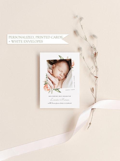 Citrus Birth Announcement - Flat Ink Printing