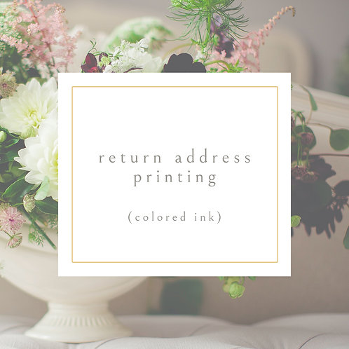 """Return Address Printing on A2 Envelopes (for 5.5x42.5"""" note cards) 