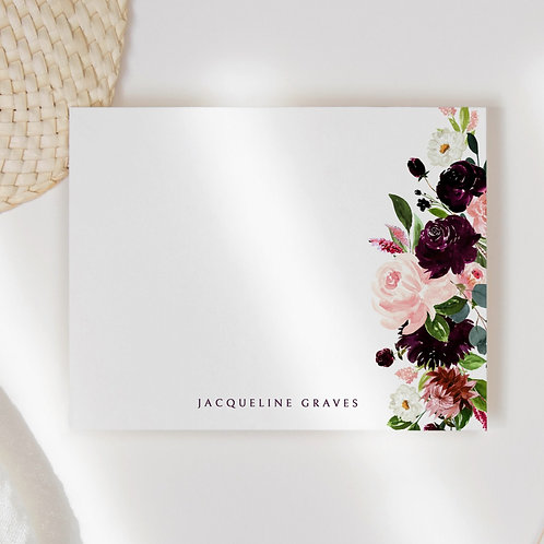 Fall Floral Border Flat Note Card Set