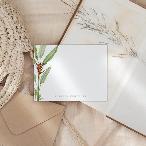 Hummingbird Banquet Note Card Set - Personalized Heliconia Stationery