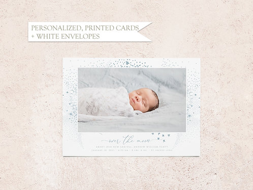 Over the Moon Photo Birth Announcement Card - Flat Ink Printing