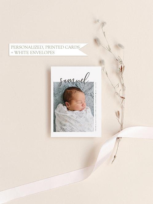Modern Photo Birth Announcement Card - Flat Ink Printing