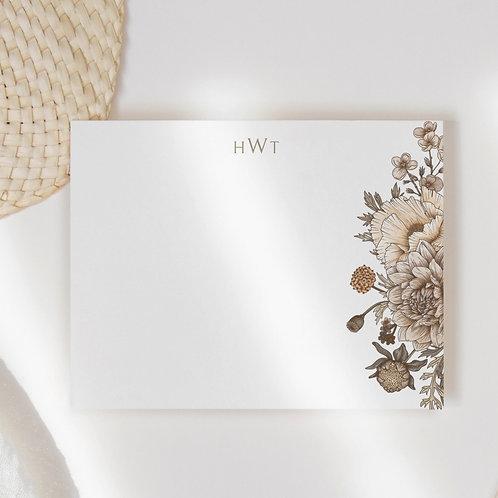 Retro Bloom Flat Note Card Set