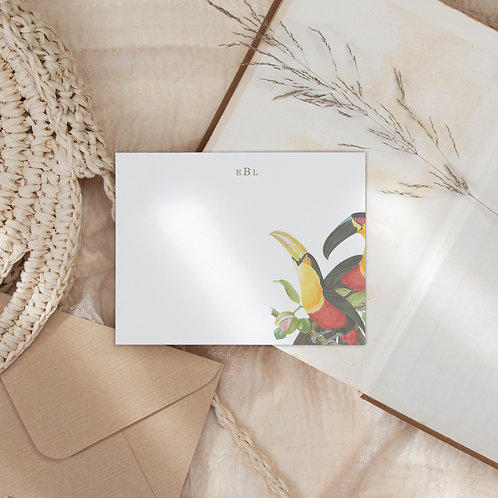 Toucan Tango Flat Note Card Set - Personalized Toucan Stationery