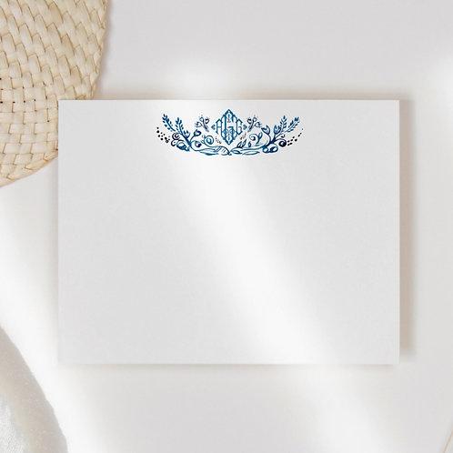 Blue Bloom Monogram Flat Note Card Set