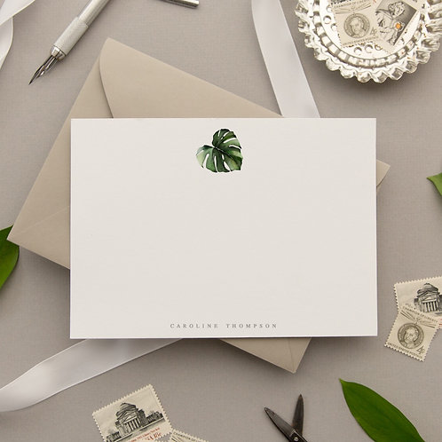 Personalized Stationery Set - Monstera Messenger Flat Note Cards