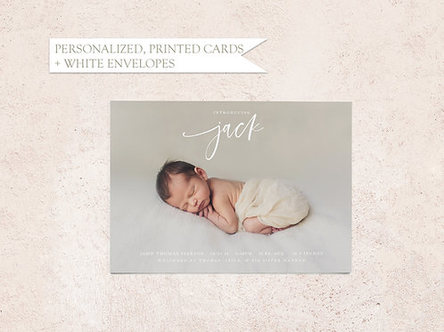 Script Name Photo Baby Announcement Card - Flat Ink Printing