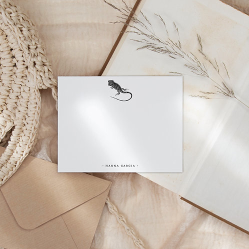Iguana Get Together Flat Note Card Set - Personalized Lizard Stationery