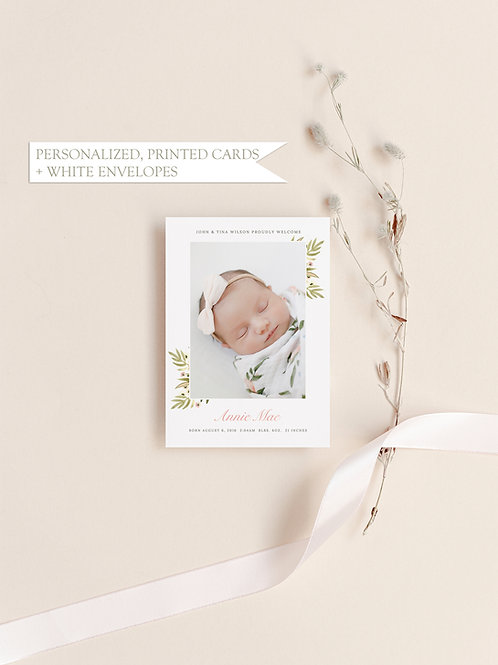 Floral Photo Baby Announcement Card - Flat Ink Printing