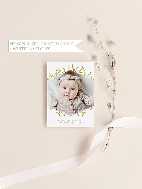 Boho Floral Baby Announcement - Flat Ink Printing