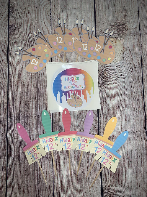 Paint Theme cake toppers and goodie box stickers