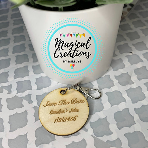 Save the date circle keychains