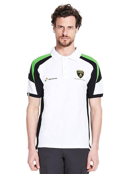 Automobili Lamborghini Squadra Corse Men's Polo Shirt, White