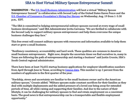 SBA News Release