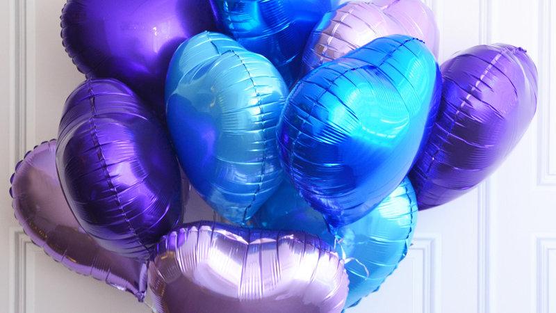 Фольгированные шарики, сердечки - 15 шт.