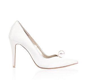 Melanie 優雅率性緞面珍珠宴會鞋・RS160320(Ivory)