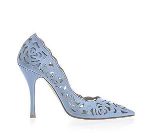 Rosie 鏤空薔薇皮革宴會鞋・RS160425(Skyblue)