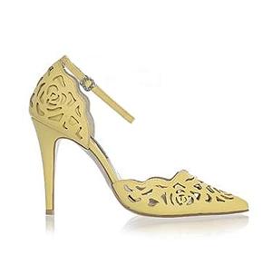 Rosie 鏤空薔薇皮革宴會鞋・RS160426(Yellow)