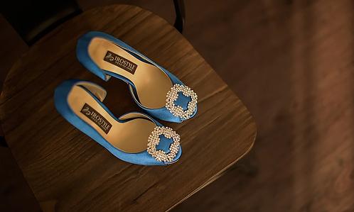 馬諾洛鑲鑽綢緞鞋飾(寶石藍)・IA141120(Blue)