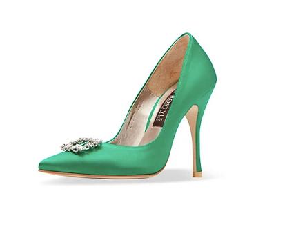 Frida 真絲施華洛世奇方鑽高跟鞋・RS190801(Green)