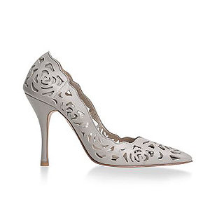 Rosie 鏤空薔薇皮革宴會鞋・RS160425(Gray)