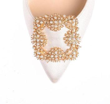 馬諾洛珍珠綢緞鞋飾二代・IA160322(Gold)