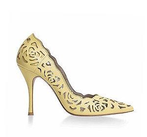 Rosie 鏤空薔薇皮革宴會鞋・RS160425(Yellow)