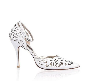 Rosie 鏤空薔薇皮革宴會鞋・RS160426(White)