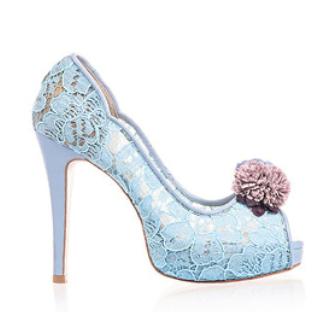 Celine春色花語蕾絲鞋・RS160401(Skyblue)