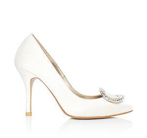 Amy時尚白方鑽高跟鞋・RS160506(Ivory)