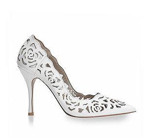 Rosie 鏤空薔薇皮革宴會鞋・RS160425(White)