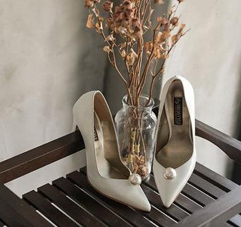 Melanie 優雅率性皮革珍珠宴會鞋・RS160319(Ivory)