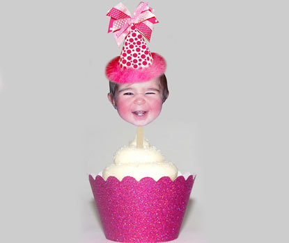 Pink Party Hat Face Toppers