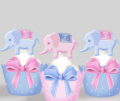 Birth Announcement Mixed Elephants Toppers