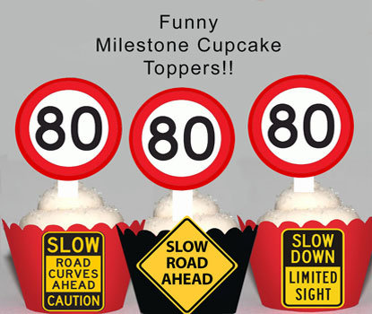 80th Road Sign Birthday Toppers