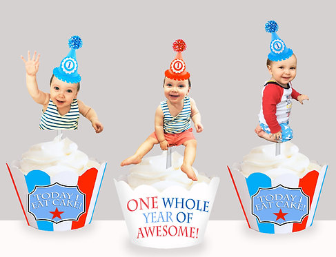 Baby 1st Birthday Party Face Toppers