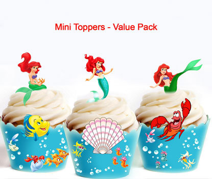 42 Mini Little Mermaid Ariel Toppers