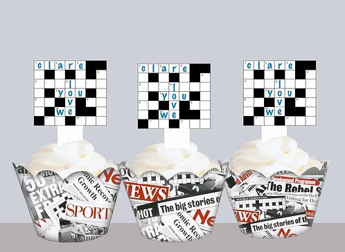 Edible Custom Crossword Toppers