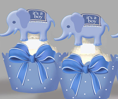 Birth Announcement Blue Elephants Toppers