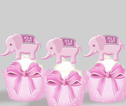 Birth Announcement Pink Elephants Toppers