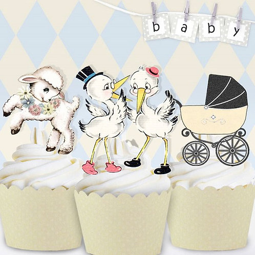 Vintage Baby Cream Toppers