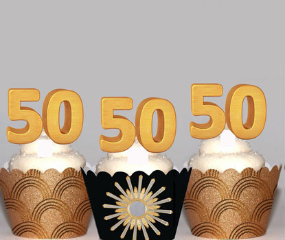 Gold 50th Birthday Toppers
