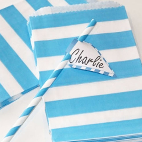 Blue Stripe Party Loot Bag